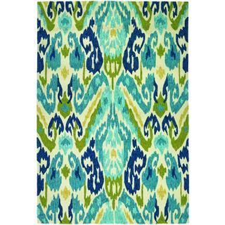 Miami London/ Blue-Lemon Indoor/Outdoor Area Rug - 3'6 x 5'6
