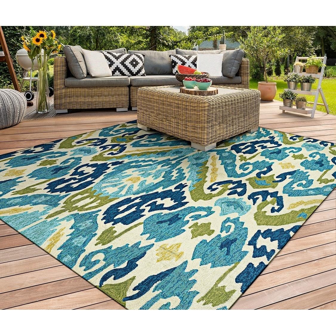 Miami London Blue-Lemon Indoor/Outdoor Area Rug - 36 x 56 (36 x 56 - blue/lemon)