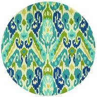 Miami London/ Blue-Lemon Indoor/Outdoor Round Rug - 7'10 x 7'10
