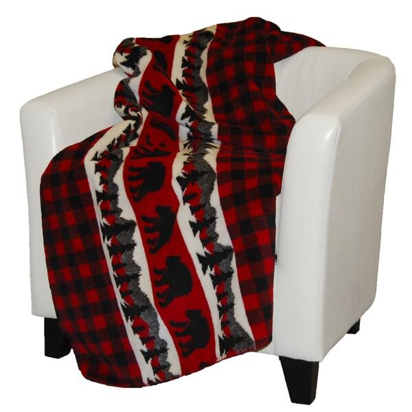 Denali Bear Plaid Throw Blanket