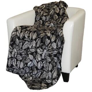 Denali Black Leaves Throw Blanket