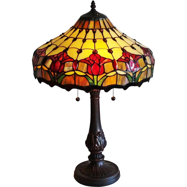 amora lighting tulips design tiffany style table lamp free shipping. Black Bedroom Furniture Sets. Home Design Ideas