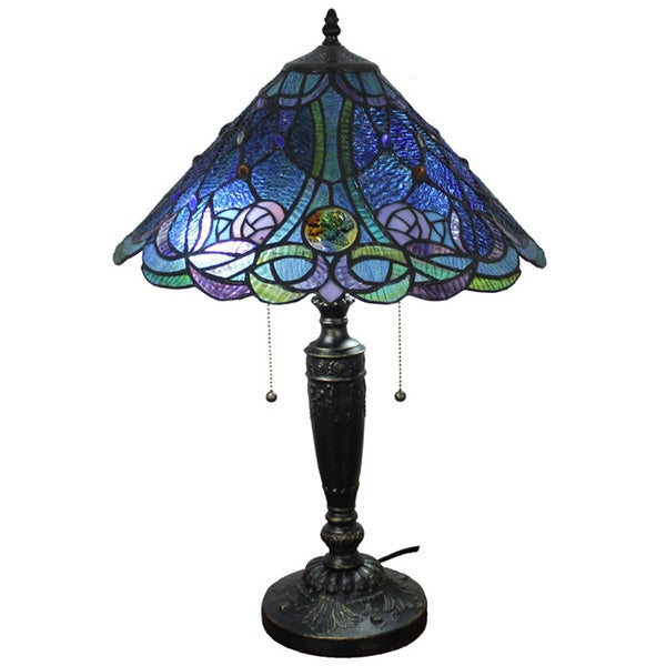 Amora Lighting Tiffany Style Blue Table Lamp Free Shipping Today Overstock Com 15727538