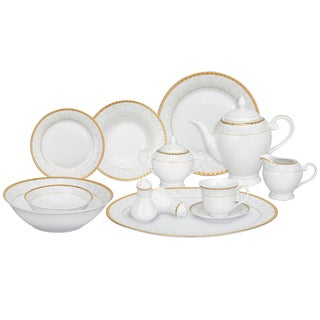 Gold Accent Porcelain 57 Piece Dinnerware Set