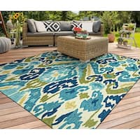 "Miami London Blue-Lemon Indoor/Outdoor Area Rug - 5'6"" x 8'"