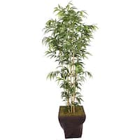 Laura Ashley 82-inch Tall Natural Bamboo Tree in 17-inch Fiberstone Planter