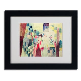 August Macke 'Two Women and a Man With Parrots' Framed Matted Art