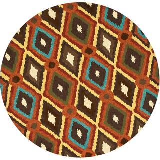 Indoor/ Outdoor Hand-hooked Portia Brown Rug (7'10 x 7'10)