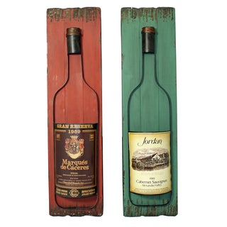 Wall-Mounted Wine Bottles Art Decor (Set of 2)