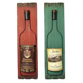 Wall-Mounted Wine Bottles Art Decor (Set of 2)