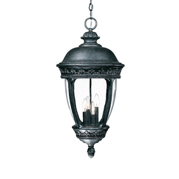 Fleur-de-lis Collection Hanging Lantern 4-light Outdoor Stone Light Fixture