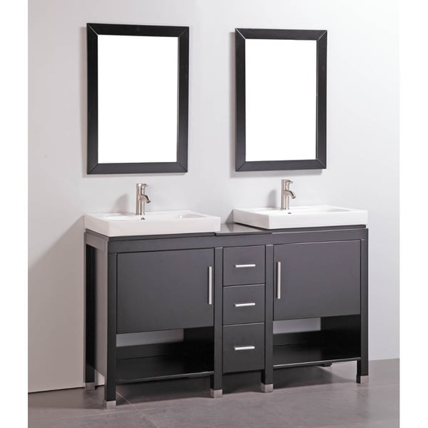Shop granite top 60 inch double sink bathroom vanity with - 50 inch double sink bathroom vanity ...