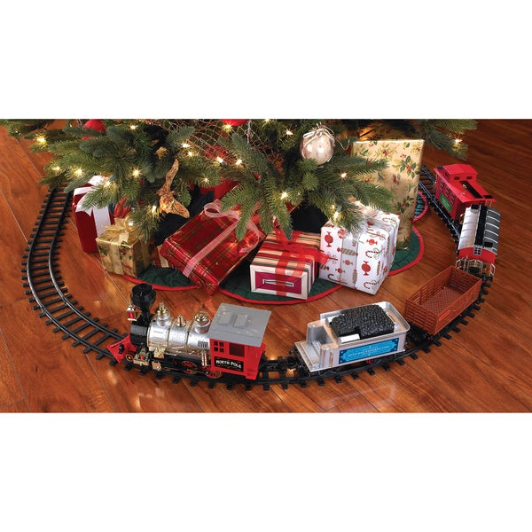 blue hat north pole junction christmas battery operated train set - Christmas Train Decoration