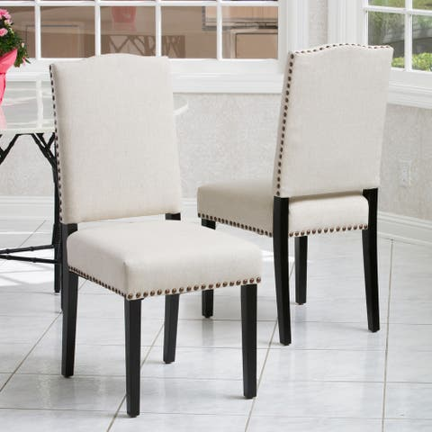Brunello Armless Studded Fabric Dining Chairs by Christopher Knight Home (Set of 2)