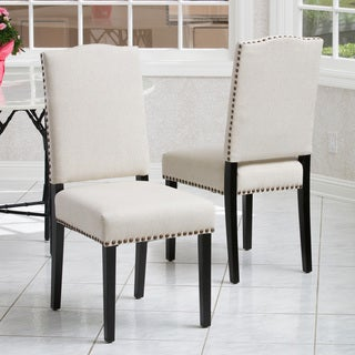 Brunello Beige Fabric Dining Chairs (Set of 2) by Christopher Knight Home
