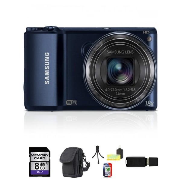 Samsung WB200F Smart Wi-Fi 16.4MP Black Digital Camera 8GB Bundle