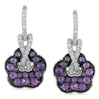 Miadora Signature Collection 14k White Gold Amethyst and 1/4ct TDW Diamond Flower Earrings (I1-I2)