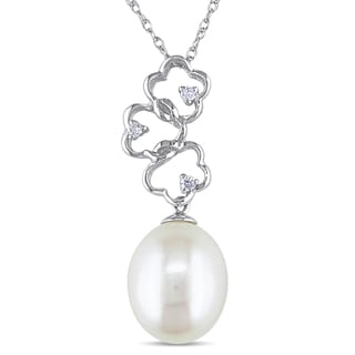 Miadora 14k White Gold White Cultured Freshwater Pearl and Diamond Necklace (G-H, I1-I2) (9-10 mm)