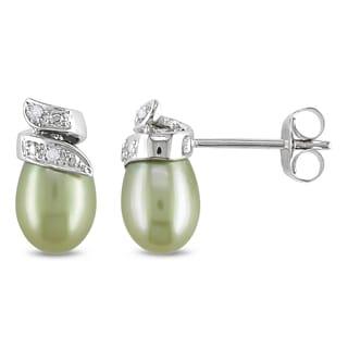 Miadora 10k White Gold Green Cultured Freshwater Pearl and Diamond Stud Earrings (H-I, I2-I3) (6.5-7 mm)