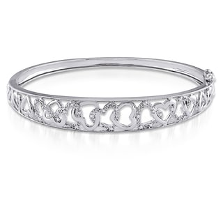 Miadora Sterling Silver 1/10ct TDW Diamond Bangle Bracelet (H-I, I2-I3)