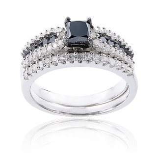 Miadora Sterling Silver 1ct TDW Black and White Diamond Ring Set