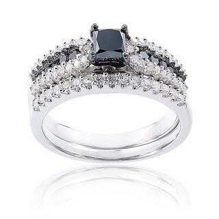 Miadora Sterling Silver 1ct TDW Black and White Diamond Ring Set