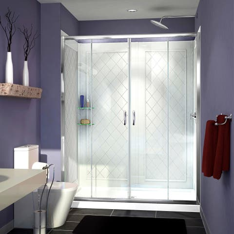 "DreamLine Visions 32 in. D x 60 in. W x 76 3/4 in. H Sliding Shower Door, Shower Base and Backwall Kit - 32"" x 60"""