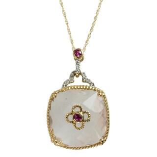 Michael Valitutti 10k Yellow Gold Rose Quartz, Pink Sapphire and Diamond Necklace (I-J, I1-I2)