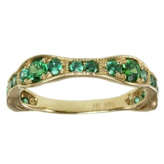 Michael Valitutti 14k Yellow Gold Green Cubic Zirconia Ring