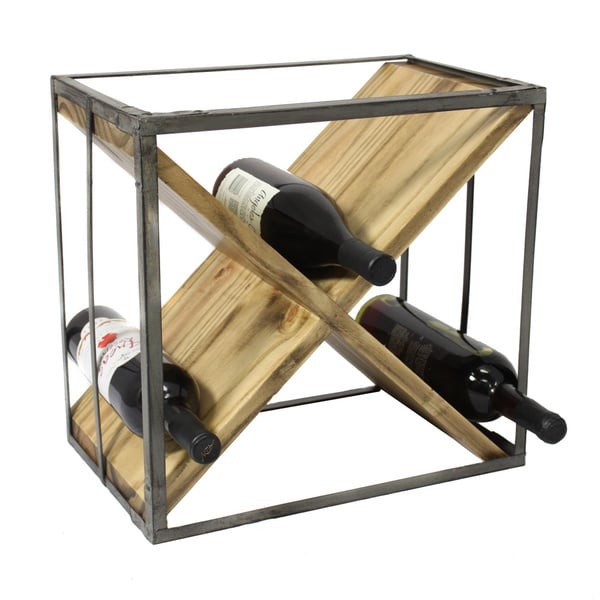 Casa Cortes Square Natural Wood And Metal Wine Rack - Free Shipping ...