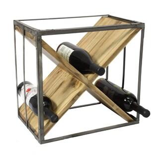 Casa Cortes Square Natural Wood And Metal Wine Rack