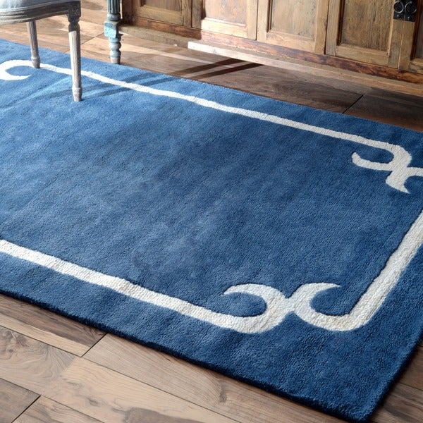 Nuloom Handmade Solid Border Wool Royal Blue Rug 7 6 X 9
