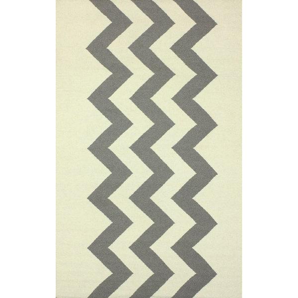 nuLOOM Flatweave Wool Zig Zag Gray Rug - 7'6 x 9'6