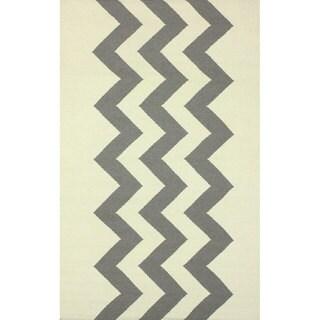 nuLOOM Flatweave Wool Zig Zag Gray Rug (7'6 x 9'6)