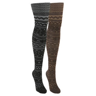 Muk Luks Women's Patterned Microfiber Tights (2 Pairs)