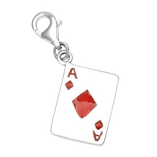 Rhodium Over Sterling Silver Ace of Diamonds Card Charm and Clasp
