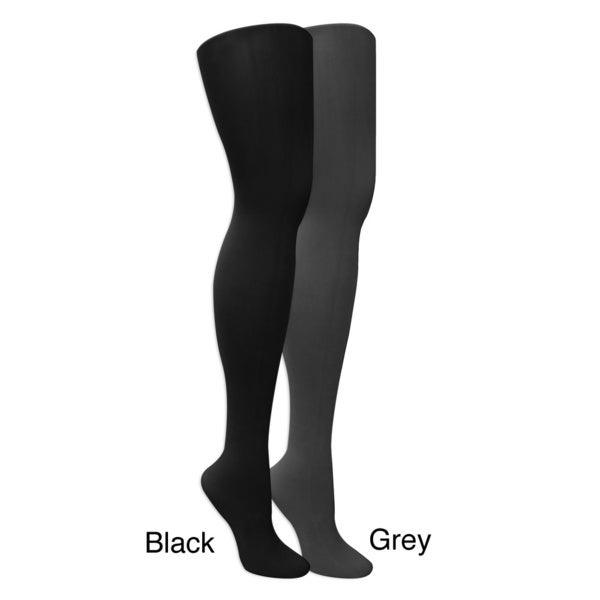 8ddf2f71dec80b Shop Muk Luks Women's Microfiber Herringbone Tights (2 Pairs) - Black/Grey  - Free Shipping On Orders Over $45 - Overstock - 8431377