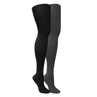 Muk Luks Women's Microfiber Herringbone Tights (2 Pairs) - Black/Grey