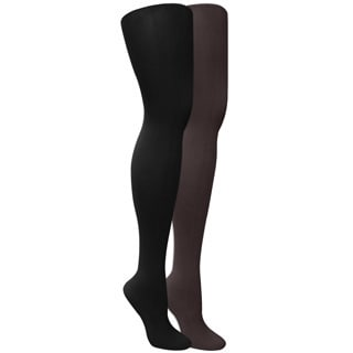 Muk Luks Women's Microfiber Herringbone Tights (2 pairs)