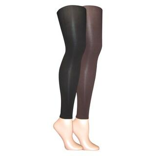 Muk Luks Women's Black/ Brown Microfiber Footless Tights (Set of 2 pairs)