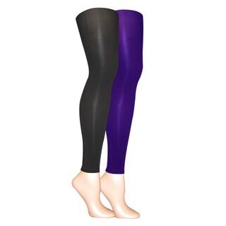 Muk Luks Women's Black/ Purple Microfiber Footless Tights (Set of 2 pairs)