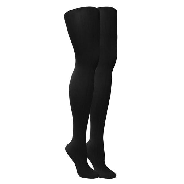 a469de3cbd42e5 Shop Muk Luks Women's Black Microfiber Herringbone Tights (Set of 2 pairs)  - Free Shipping On Orders Over $45 - Overstock.com - 8431397