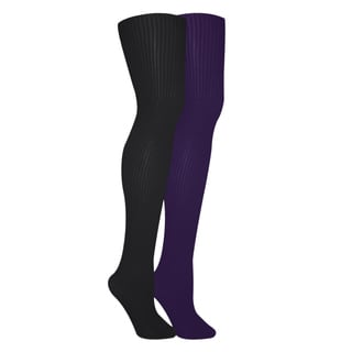 Muk Luks Women's Black/ Purple Ribbed Microfiber Tights (Set of 2 Pairs)