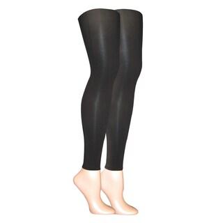 Muk Luks Women's Black Microfiber Footless Tights (Set of 2 pairs)
