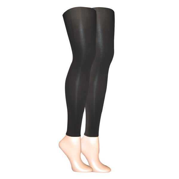 b6d3baf2dc4 Shop Muk Luks Women s Black Microfiber Footless Tights (Set of 2 ...