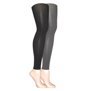 Muk Luks Women's Black/ Grey Microfiber Footless Tights (Set of 2 pairs)