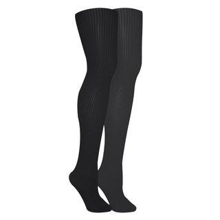 Muk Luks Women's Black/ Grey Ribbed Microfiber Tights (Set of 2 Pairs)