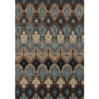 Old World Tribal Blue/ Stone Rug (1'11 x 3'3)