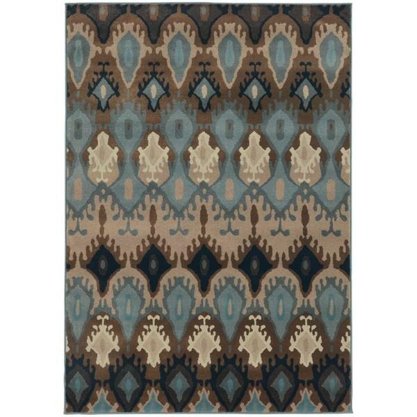 Old World Tribal Blue/ Stone Rug - 5'3 x 7'6