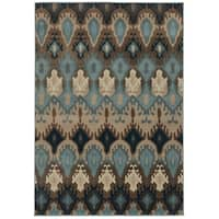 Old World Tribal Blue/ Stone Rug - 6'7 x 9'6